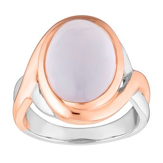 9ct Silver Rose Gold Plated Rose Quartz Ring - Product number 4658043