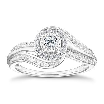 9ct White Gold 1/3ct Diamond Solitaire Ring - Product number 4658973