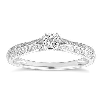 9ct White Gold 1/3ct Diamond Solitaire Ring - Product number 4660579