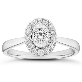 9ct White Gold 1/3ct Diamond Oval Halo Ring - Product number 4661524