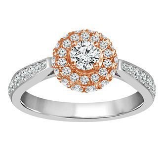 Platinum and 18ct Rose Gold 1 Carat Round Halo Ring - Product number 4664698