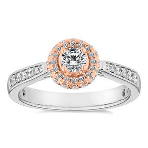 Platinum and 18ct Rose Gold 1/2ct Round Halo Ring - Product number 4666100