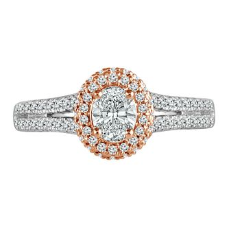 Platinum and 18ct Rose Gold 2/3ct Oval Halo Ring - Product number 4666321