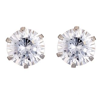 9ct White Gold 5mm Cubic Zirconia Stud Earrings - Product number 4668677