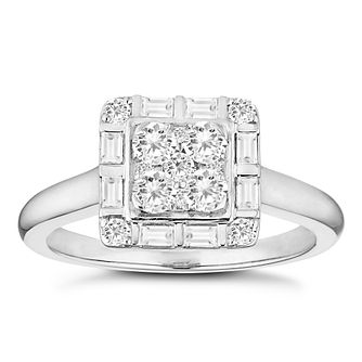 Platinum 0.57ct Diamond Square Cluster Ring - Product number 4670337