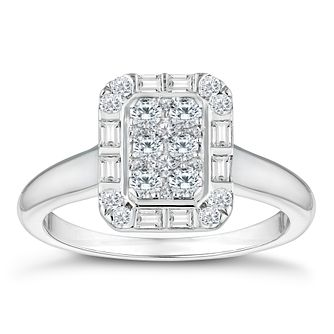 Platinum 0.57ct Diamond Rectangle Cluster Ring - Product number 4670655