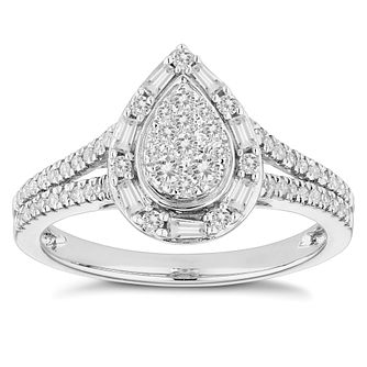 18ct White Gold 1/2ct Diamond Pear Cluster Ring - Product number 4671805