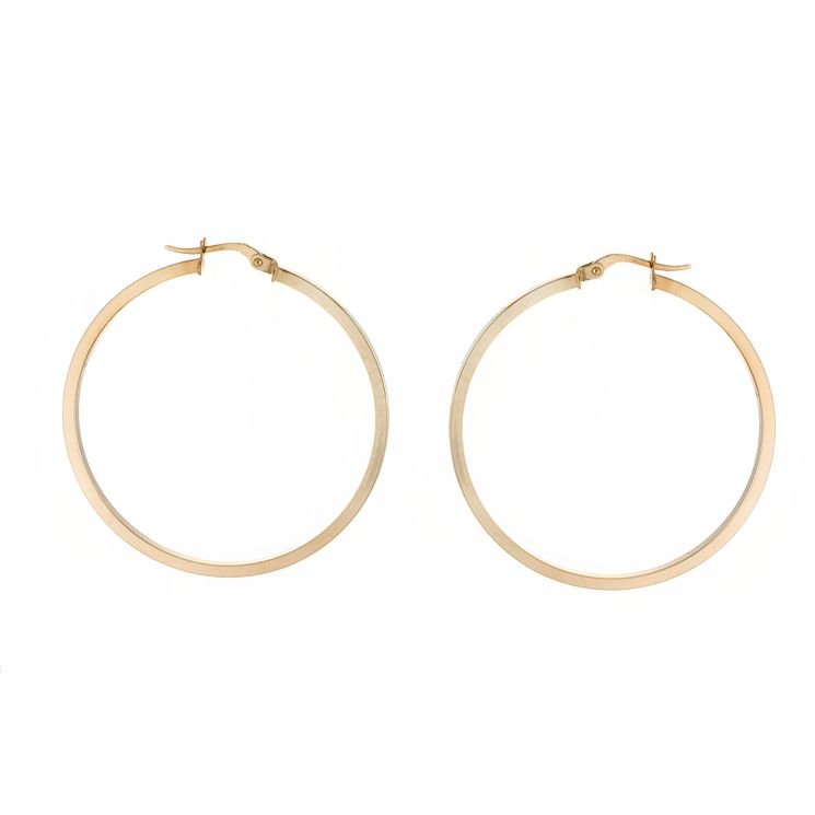9ct Gold Large Square Tube Creole Earrings - Product number 4672100