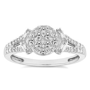 18ct White Gold 1/3ct Round Baguette Cut Cluster Ring - Product number 4672801