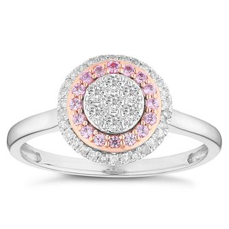9ct White and Rose Gold 0.20ct Diamond Pink Sapphire Ring - Product number 4673670