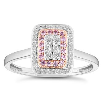 9ct White and Rose Gold 0.15ct Diamond Pink Sapphire Ring - Product number 4674286