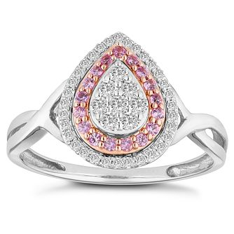 9ct White and Rose Gold 0.20ct Diamond Pink Sapphire Ring - Product number 4674774