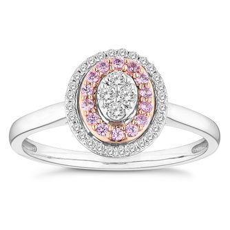 9ct White And Rose Gold 0.15ct Diamond Pink Sapphire Ring - Product number 4674928