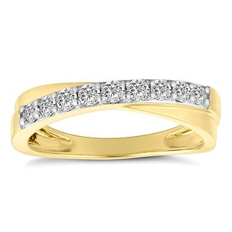 18ct Yellow Gold 1/3ct Crossover Eternity Ring - Product number 4675339