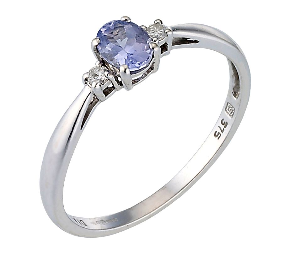 9ct White Gold Tanzanite & Diamond Ring