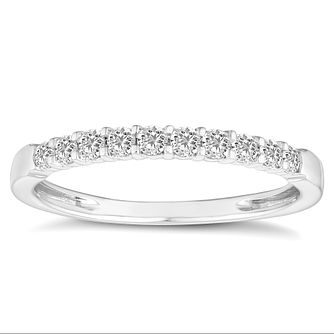 18ct White Gold 1/4 Carat Diamond Half Eternity Ring - Product number 4679040