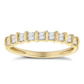 9ct Yellow Gold 0.20ct Baguette Cut Half Eternity Ring - Product number 4680103