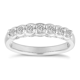 Platinum 1/2ct Seven Stone Half Eternity Ring - Product number 4680820