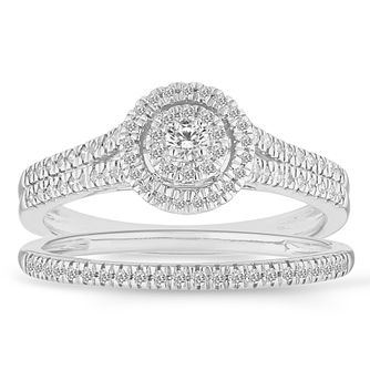 9ct White Gold 1/3ct Round Halo Bridal Set - Product number 4682106