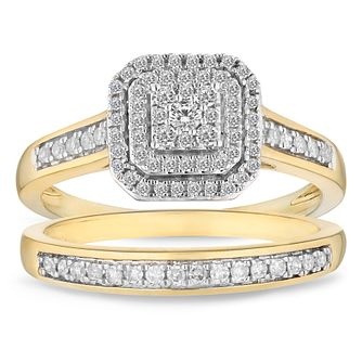 9ct Yellow Gold 1/3ct Square Cluster Bridal Set - Product number 4682653