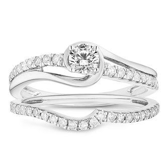 9ct White Gold 1/2ct Solitaire Bridal Set - Product number 4682793