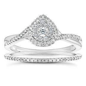 9ct White Gold 1/4 Carat Pear Cluster Bridal Set - Product number 4683064