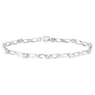 9ct White Gold Cubic Zirconia Bracelet - Product number 4683269