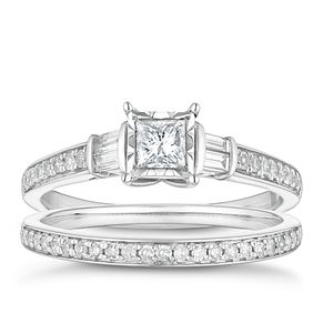 9ct White Gold 1/2ct Princess Cut Bridal Set - Product number 4683366