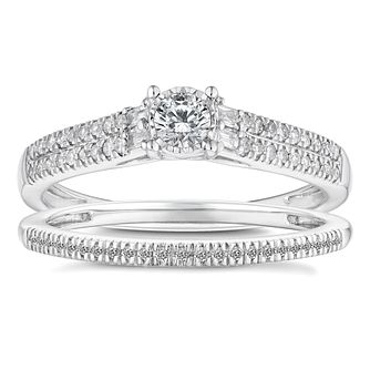 9ct White Gold 1/3ct Solitaire Bridal Set - Product number 4683498