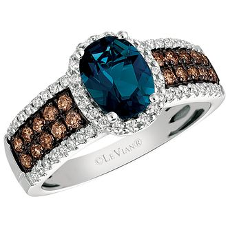 Le Vian 14ct Vanilla Gold Deep Sea Blue Topaz Diamond Ring - Product number 4683668