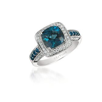 Le Vian 14ct Vanilla Gold Deep Sea Blue Topaz Diamond Ring - Product number 4683676