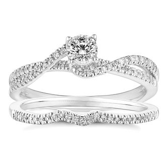9ct White Gold 1/3ct Solitaire Twist Bridal Set - Product number 4683757