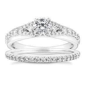 9ct White Gold 0.60ct Illusion Setting Bridal Set - Product number 4684125