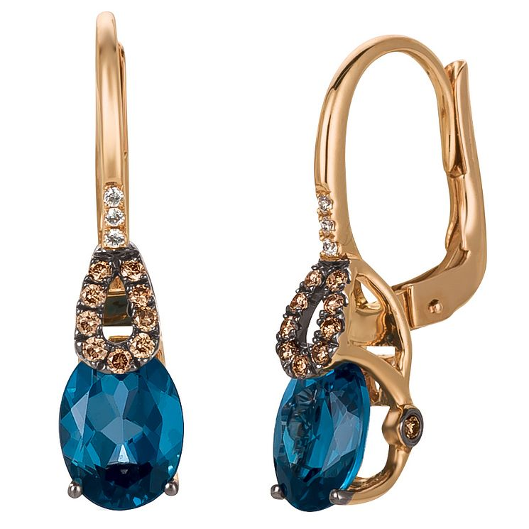 Le Vian 14ct Strawberry Gold Deep Sea Blue Topaz Earrings - Product number 4685717