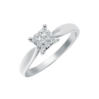 18ct white gold 14 point diamond square cluster ring - Product number 4689216