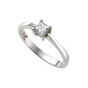 Platinum 1/3ct princess cut diamond solitaire ring - Product number 4692020