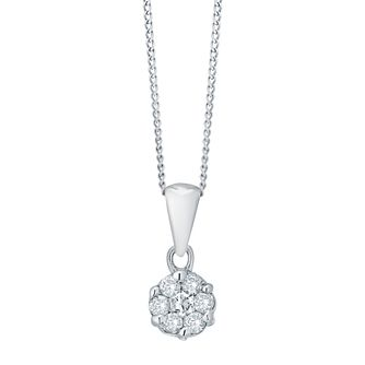 9ct white gold 0.25ct diamond cluster pendant necklace - Product number 4695860
