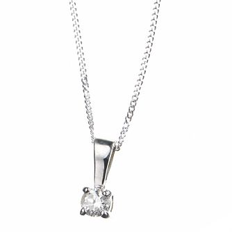 9ct white gold 15 point diamond pendant necklace - Product number 4696174
