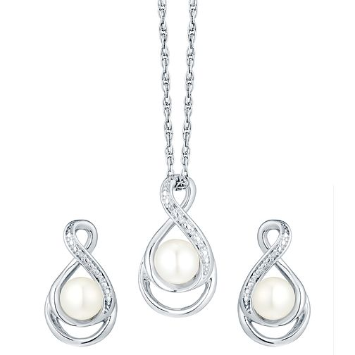 Sterling Silver Freshwater Pearl Pendant & Stud Earrings - Product number 4701585