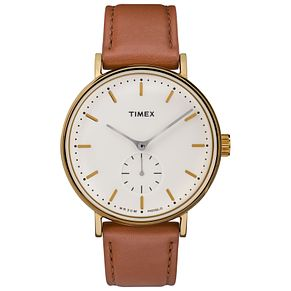 Timex Fairfield Men's Yellow Gold Plated Strap Watch - Product number 4702921