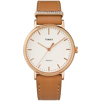 Timex Fairfield Ladies' Rose Gold Plated Strap Watch - Product number 4703030