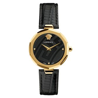 Versace Idyia Ladies' Yellow Gold Tone Black Strap Watch - Product number 4705165