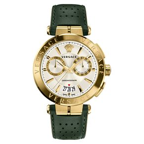 Versace V-Racer Men's Yellow Gold Tone Green Strap Watch - Product number 4706056