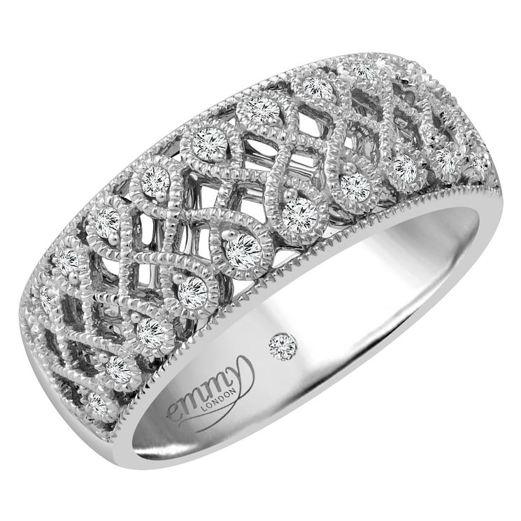 Emmy London Platinum 0.15 Carat Diamond Set Ring - Product number 4714113