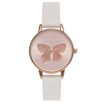 Olivia Burton Rose Gold Plated Butterfly Pink Strap Watch - Product number 4719093