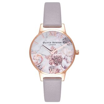 Olivia Burton Rose Gold Plated Floral Marble Strap Watch - Product number 4719131
