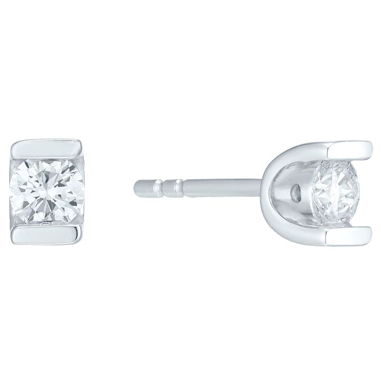 9ct white gold twenty five point diamond stud earrings - Product number 4719956