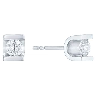 9ct white gold 0.40ct diamond stud earrings - Product number 4719964