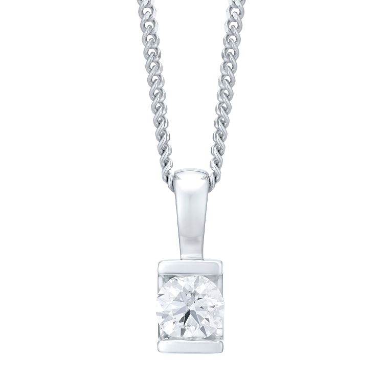 9ct white gold 1/3ct diamond solitaire pendant - Product number 4719980