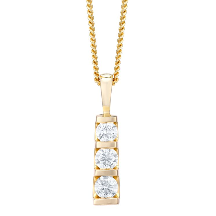 9ct yellow gold trilogy diamond pendant necklace - Product number 4720040